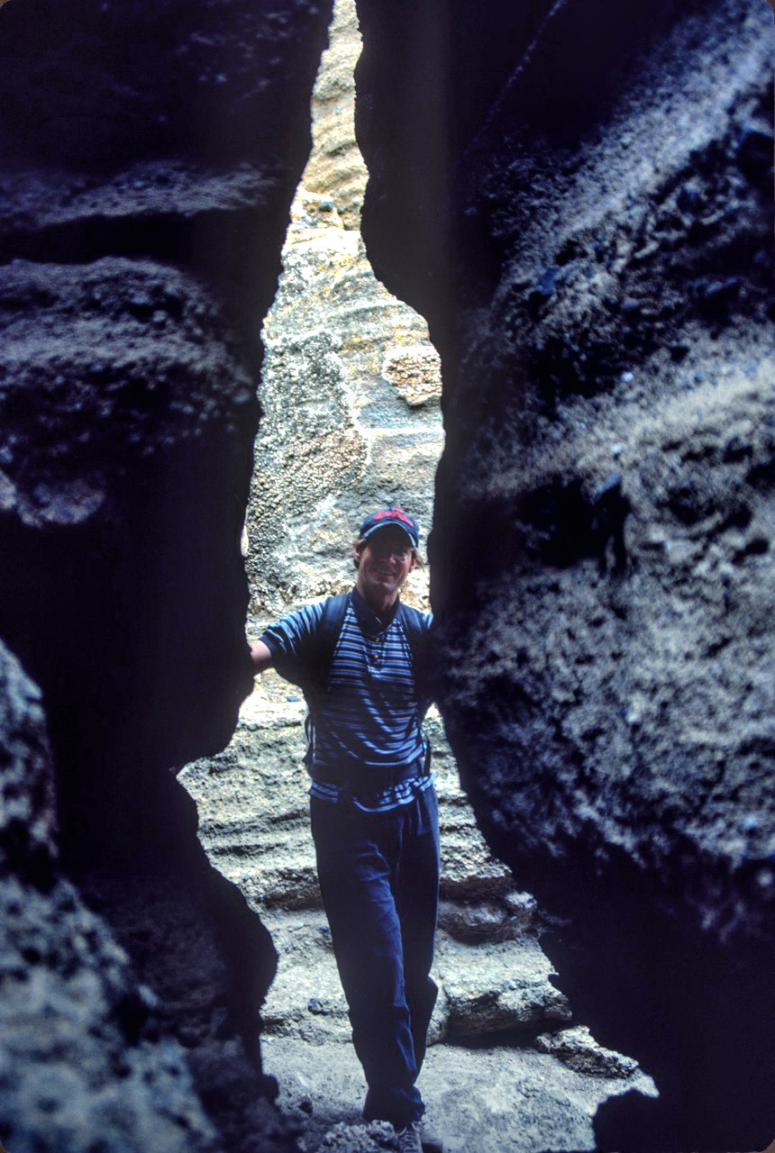 Bruce Morris in the Black Point Fissures near Mono Lake in 1989